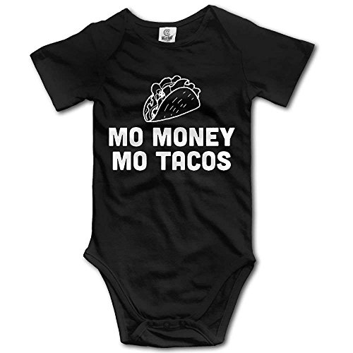 Mo Onesies (Mo Geld Mo Tacos Neugeborene Babys Jungen & Mädchen Kurzarm Baby Klettern Kleidung Für 0 24 Monate Schwarz)