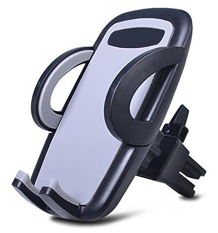 HubLines® - Universal Handyhalterung Auto Lüftung in schwarz/grau, Handyhalterung Auto 360°-Drehung Multi-Winkel - Lüftungsauslass Lüftungsgitter Lüftungsschlitz Belüftung Klima Düse - Smartphone Halterung Autohalterung Kfz PKW Befestigung