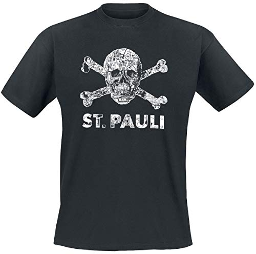 FC St. Pauli Totenkopf Stadtplan T-Shirt schwarz XL