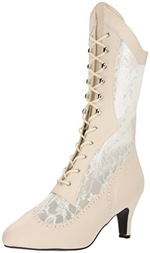Pleaser Pink Label DIVINE-1050 Ivory Faux Leather-Satin Lace UK 8 (EU 41)