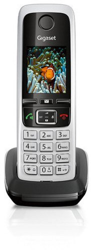 Gigaset C430 Schnurlostelefon (4,6 cm (1,8 Zoll) TFT-Farbdisplay, Dect-Telefon, Freisprechen) schwarz/silber - Mit Kopfhöreranschluss Telefon