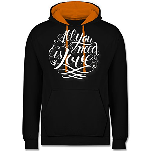 Statement Shirts - All you need is love Lettering - Kontrast Hoodie Schwarz/Orange