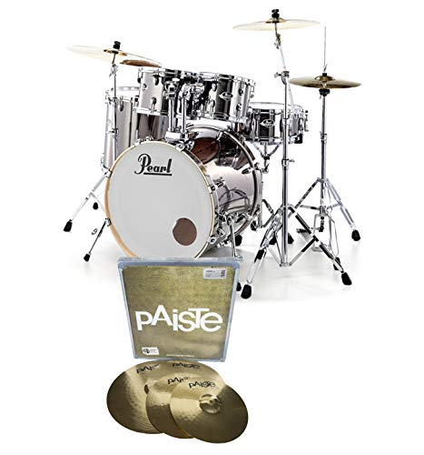 Pearl Export EXX725S Drum Kit Smokey Chrome With PAISTE Cymbals