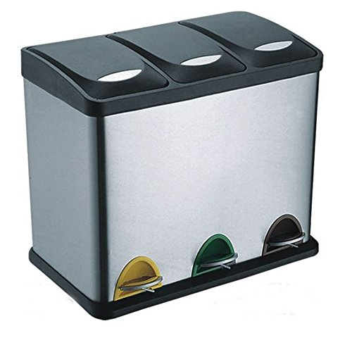 *Treteimer Abfalleimer Mülleimer Mülltrennung Edelstahl (24 Liter 3x8L)*
