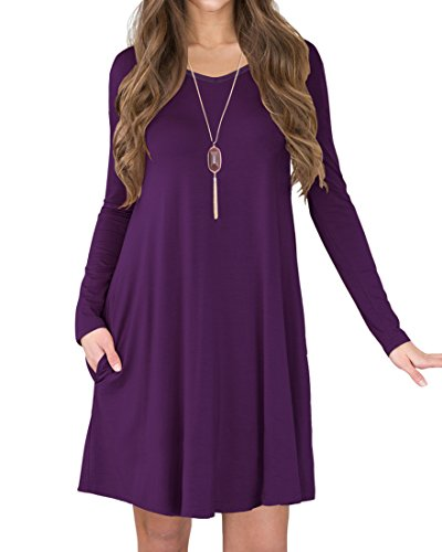 VIISHOW Damen Langarm Taschen Casual T-Shirt Kleid (Lila XL) (Lila Kleid T-shirt)
