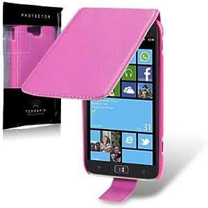 Flip Leder Handytasche Case Etui Hülle für Samsung Ativ S i8750 GT-i8750 (Pink)