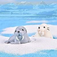 yMaJesT 2Pcs Miniature Doll Toy,Lifelike Walrus Marine Animal Figurine Crafts Bonsai Garden Decor