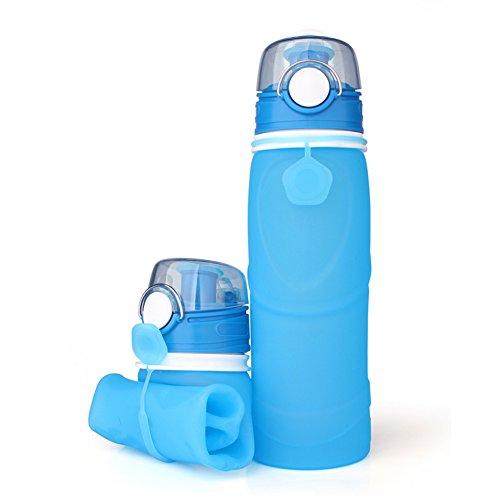 Valleycomfy, Faltbare Wasserflasche, 750 ml, BPA-freies Silikon, Sportflasche, auslaufsicher, faltbar und aufrollbar, wiederverwendbar für Reisen, Radfahren, Camping, blau