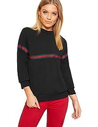 WearAll Women's Racer Contrasted Striped Long Sleeve Crew Neck Top Ladies Sweatshirt 8-14