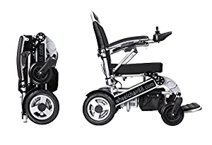 Foldawheel PW-1000XL - Super lightweight heavy duty power chair (at 55 lbs only including Polymer Li-ion Battery) comes with thick & tuff Travel Bag. This electric power motorized wheelchair is foldable in amazing 2 seconds.