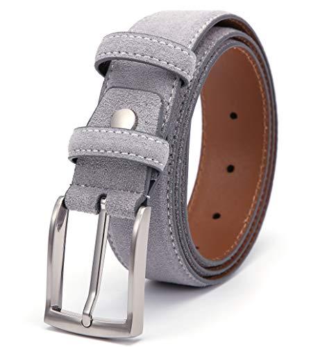 Herren Wildleder Gürtel Männer Echt-Leder Ledergürtel (Cowboy Leder Gürtel Für Männer)