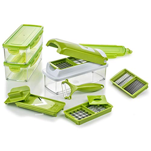 Genius Nicer Dicer Smart | 14 pièces | Coupe-fruits | Coupe-Oignon | Coupe-Pomme | Coupe-tomate | Coupe-légumes | Vu...