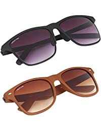 Creature Matte Finish Wayfarer Uv Protected Unisex Sunglasses Combo (Lens-Purple/Brown  Frame-Black/Brown  SUN...