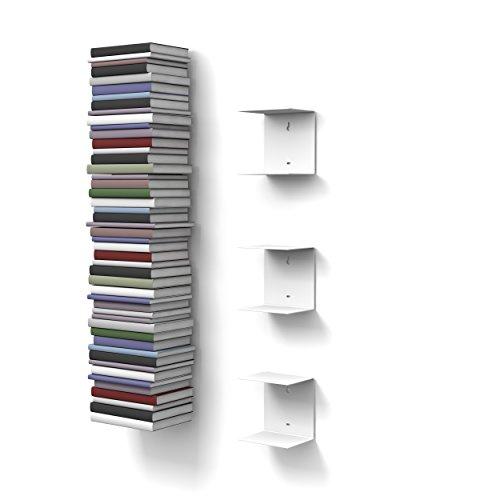 Home3000 - 3 mensole libreria, invisibili, colore: bianco, con 6 scomparti, altezza:fino a 150 cm, per mettere i libri in pila, per libri con profondità fino a 22 cm