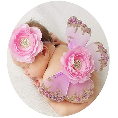 DRHYSFSA-Clothing Baby-Fotografie-Kostüm Tutu Wing Wand Set for Mädchen Dress Up Pink Fairy Princess (Farbe : Rosa, Größe : (Fairy Princess Dress Up Kostüm)