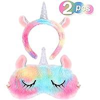 VAMEI Einhorn Schlafmaske Stirnband Set Cute Unicorn Horn Weichem Plüsch Augenbinde Augenabdeckung für Frauen... preisvergleich bei billige-tabletten.eu