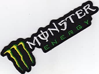 aufn her b gelbild applikation iron on patches monster energy 110 x 35 mm schwarz weiss gr n. Black Bedroom Furniture Sets. Home Design Ideas