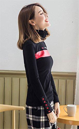 COCO clothing Cotone Donna T-shirt Slim maglia Alfabeto ricamato magliette Tinta Unita Tops Autunno e inverno Pullover dolcevita Camicette rosso nero pulsanti sui polsini Nero