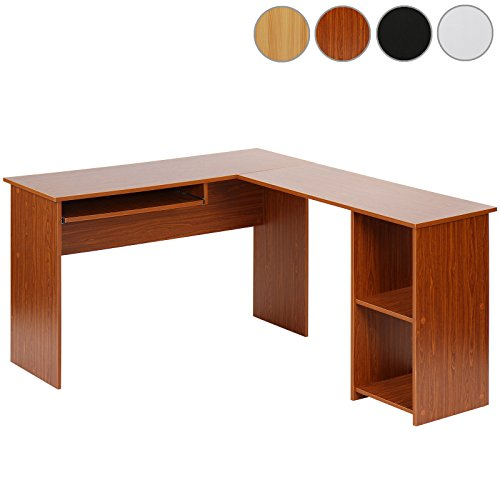 Eckschreibtisch Schreibtisch Bürotisch mit ausfahrbarer Tastaturablage in 4 verschiedenen Farben