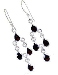 985f24cc57bc 4-Pendientes de Piedra Granate Real para Mujer Moda de Plata Hecha a Mano  Forma de Pera Joyería de Moda…