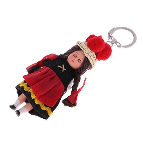 D DOLITY Handgefertigte Nationalität Puppe im Ethnische Kleidung Schlüsselanhänger Taschenanhänger - ()