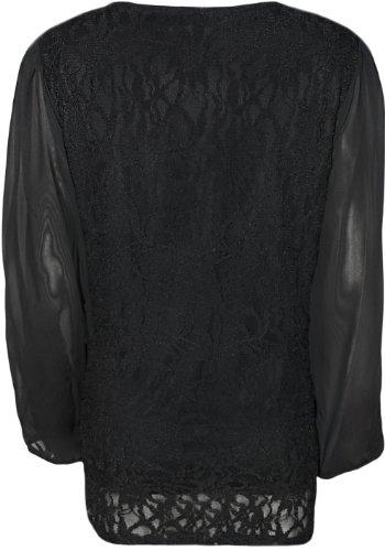 WearAll - Mousseline de Soie en Dentelle Top - Hauts - Femme - Grandes Tailles 42-56 Noir