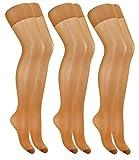 EveryHead Riese 3er Pack Feinstrumpfhosen Damenstrumpfhosen Sparpack Markenstrumpfhosen Satin Sheers XL für Damen (RS-10205-S18-DA2-3x842-48/50) in 3er Sand, Größe 48/50 inkl Hutfibel
