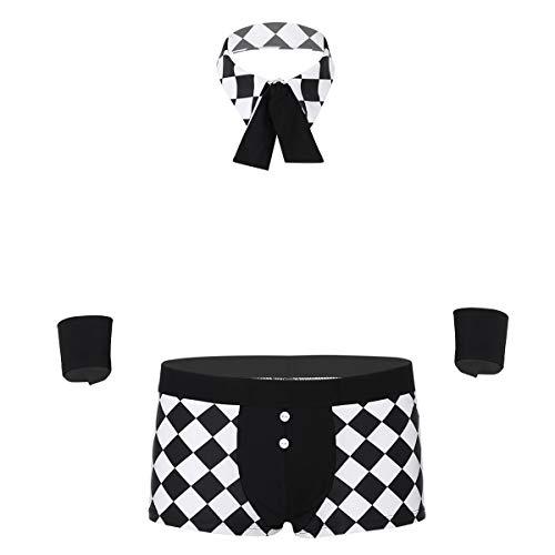 inhzoy 3tlg. Herren Kellner Kostüm Maid Outfit Set Boxershorts+Halsband+Handschellen Männer Erotik Dessous Unterwäsche Cosplay Party Bekleidung Schwarz - Hipster Kostüm Männlich