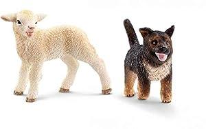 Schleich - Set 2 figuras de Farm Life. Cachorro de Pastor Alemán y Cordero