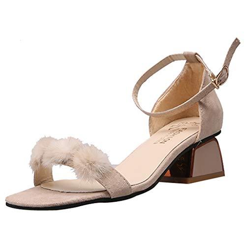 Lilicat Scarpe con Tacco Sandali Stiletto Donna Pelliccia Morbida Cinturino col Donna Sexy Elegante Morbida High Heel Scarpe Scarpe Alto Tacchi Alti(Beige,39 EU)