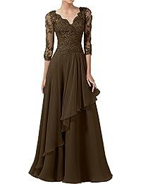 Victory Bridal Herrlich Spitze Langarm Abendkleider Ballkleider V  Ausschnitt Lang Chiffon Brautmutter Kleider 571ea0f81c