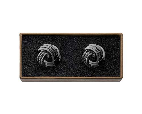 "VALDERO® Herren Manschettenknöpfe -\""Unique Knots\"" in Box (1 Paar - Schwarz)"