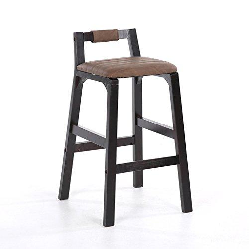 Guo shop- Style Européen Minimaliste, Noir, Bois Massif, Coussins Bar Comptoir Chaise Européenne En Bois Banc Vintage Tabourets De Bar Hauteur 64 Cm Bonne chaise (Couleur : E)