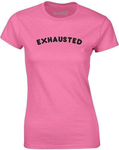 Brand88 - Exhausted, Gedruckt Frauen T-Shirt Azalee/Schwarz