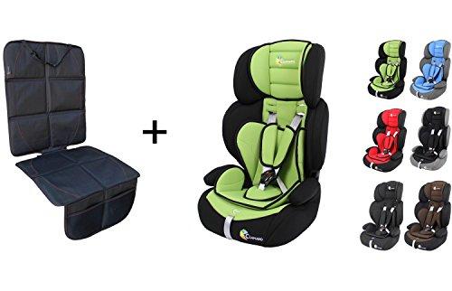 Preisvergleich Produktbild Clamaro 'Guardian 2018 Set' Kinderautositz 9-36 kg inkl. Autositzschoner, Sitz verstellbar und mitwachsend, Auto Kindersitz für Kinder von 1-12 Jahre, Gruppe 1/2/3, ECE R44/04, Farbe: Schwarz Grün
