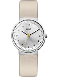 Braun Women's Quartz Watch with Silver Dial Analogue Display and Beige Leather Strap