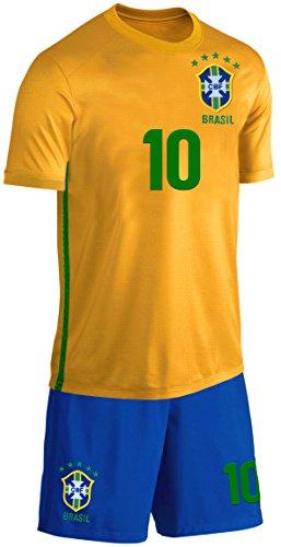 Brasilien Kinder Trikot Set Fußball Fan Zweiteiler Gelb Blau Größe 140