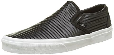 Vans Classic Slip-On, Chaussures de Running Femme, Noir (Black/Blanc de Blancmoto Leather), 37 EU