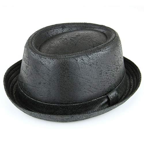 Hawkins - Chapeau Pork Pie en cuir vieilli vintage craquelé - Finition douce - Noir - Noir - 57