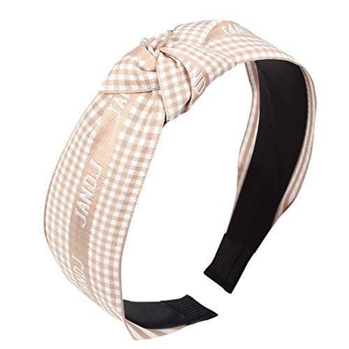 Damen Stirnband, TTWOMEN Grid Haarband Fliege Samt Krempe Headwrap Stirnband Einfache Süße Mädchen (Beige) -