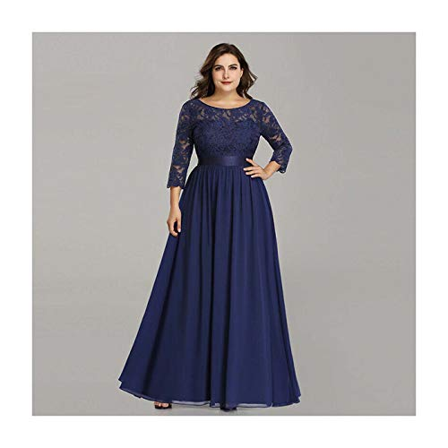 Ever-Pretty Plus Size Evening Dresses Formal Wedding Party Gowns Lace Maxi 07412 Navy Blue 16