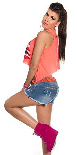 Débardeur pour femme, avec shirt ventre nu printaufdruck en taille 34 à 40) - Neoncoral