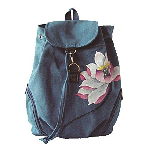 Gesimei donna zaino casual etnico borse dipinte a mano tela coulisse daypack (blu loto rosa)