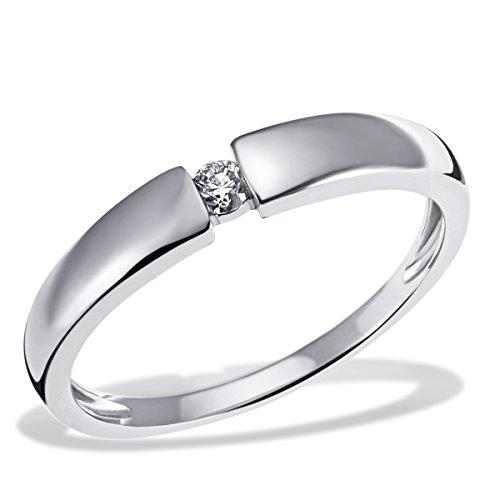 Goldmaid Damen-Ring Verlobung Solitär 585 Weißgold rhodiniert Diamant (0.10 ct) Brillantschliff Verlobungsring Diamantring