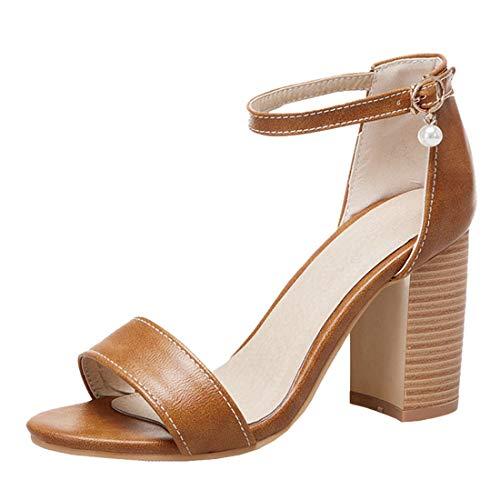 Agodor Damen Chunky Heels Knöchelriemchen Sandalen mit Blockabsatz High Heels Sandaletten 8cm Absatz Single Band Schuhe - High Heels-band