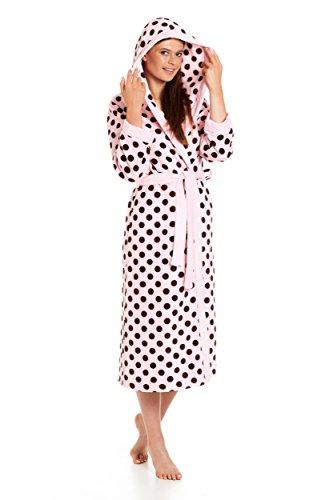 Damen Bademantel Revise RE-610 rosa mit braunen Punkten