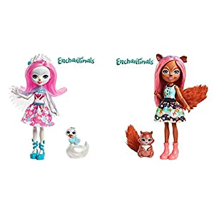 Enchantimals Muñeca con Mascota Saffi Swan (Mattel FRH38) + Muñeca con Mascota Squirrel (Mattel FMT61)
