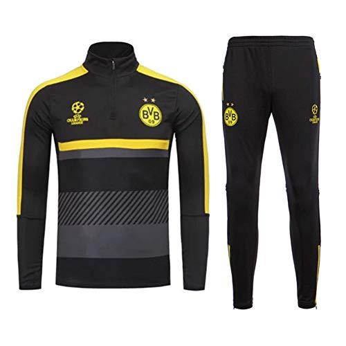 QAZWSX Erwachsene Fußball Dortmund Fußballverein Trikot, Langarm Trainingsanzug Sportbekleidung Anzug Kinderhose + Lange Ärmel Tragen -