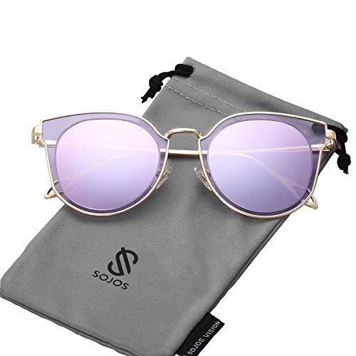 SOJOS Schick Klassische Retro Rund UV Schützen Polarisiert Sonnenbrille für Damen und Herren SJ1057 mit Gold Rahmen/Hellviolett Linse