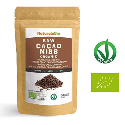 Nibs de Cacao Crudo Ecológico 200 g | 100% Puntas de Cacao Bio, Natural y Puro | Cultivado en Perú a partir de la planta Theobroma cacao | Rico en antioxidantes, minerales y vitaminas | NATURALEBIO